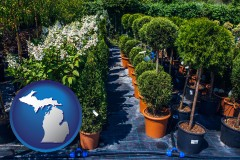 michigan map icon and shrubs and trees at a nursery