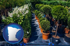 minnesota map icon and shrubs and trees at a nursery