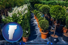 vermont map icon and shrubs and trees at a nursery