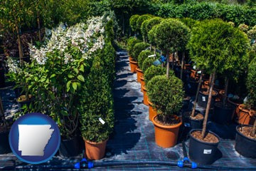 shrubs and trees at a nursery - with Arkansas icon