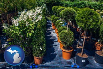 shrubs and trees at a nursery - with Michigan icon