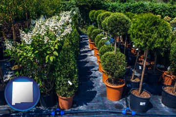 shrubs and trees at a nursery - with New Mexico icon