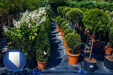 shrubs and trees at a nursery - with Nevada icon