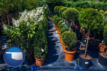 shrubs and trees at a nursery - with Oklahoma icon