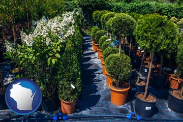shrubs and trees at a nursery - with Wisconsin icon