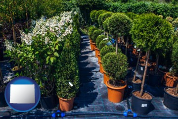 shrubs and trees at a nursery - with Wyoming icon